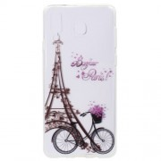 Pattern Printing Soft TPU Gel Cover Case for Samsung Galaxy A9 (2018) - Eiffel Tower and Bike