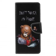 Cross Texture Patterned Wallet Leather Case for Samsung Galaxy A9 (2018) / A9 Star Pro / A9s - Angry Bear