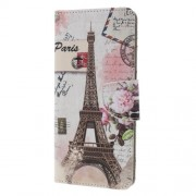 Cross Texture Patterned Wallet Leather Casing for Samsung Galaxy A9 (2018) / A9 Star Pro / A9s - Eiffel Tower