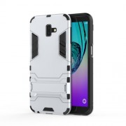 Cool Guard Plastic TPU Combo Case with Kickstand for Samsung Galaxy J6 Plus - White