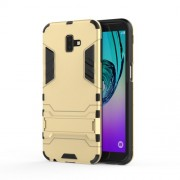 Cool Guard Plastic TPU Combo Cell Phone Case with Kickstand for Samsung Galaxy J6 Plus - Gold