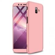GKK 360 μοιρών Σκληρή Θήκη Ματ με Βελούδινη Υφή Πρόσοψης και Πλάτης για Samsung Galaxy J6 Plus / J6 Prime - Ροζέ Χρυσαφί