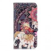 Pattern Printing Leather Mobile Phone Case with Card Slots for Samsung Galaxy J6+ / J6 Prime - Elephant and Peacock