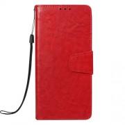 Δερμάτινη Θήκη Πορτοφόλι με Βάση Στήριξης (Όψη Vintage) για Samsung Galaxy J6 Plus J610F / J6 Prime - Κόκκινο