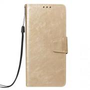 Δερμάτινη Θήκη Πορτοφόλι με Βάση Στήριξης (Όψη Vintage) για Samsung Galaxy J6 Plus J610F / J6 Prime - Χρυσαφί