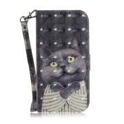 Light Spot Decor Patterned Wallet Stand PU Leather Phone Cover for Samsung Galaxy J6+ - Grey Cat