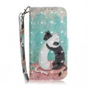 Light Spot Decor Patterned Wallet Stand PU Leather Flip Case for Samsung Galaxy J6+ - Hugging Cats