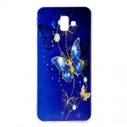 Pattern Printing TPU Protection Case for Samsung Galaxy J6 Plus / J6 Prime / J610 - Blue Butterfly