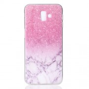 Pattern Printing TPU Protection Phone Cover for Samsung Galaxy J6 Plus - Pink Marble