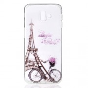 Pattern Printing TPU Mobile Casing for Samsung Galaxy J6 Plus - Eiffel Tower and Bicycle