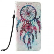 Light Spot Decor Pattern Printing Leather Cell Phone Cover for Samsung Galaxy J6 Plus J610F / J6 Prime - Feather Dream Catcher