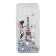 Patterned Floating Glitter Sequins TPU Back Case for Samsung Galaxy J6 (2018) - Butterfly Fairy and Eiffel Tower