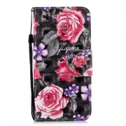 Patterned Light Spot Decor Wallet Stand Leather Case for Samsung Galaxy J6 (2018) - Rose Flower