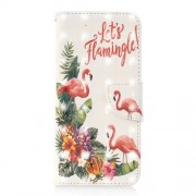 Light Spot Decor Pattern Printing Wallet Stand Leather Flip Cell Phone Case for Samsung Galaxy J6 (2018) - Flamingo and Flower
