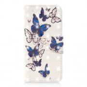 Light Spot Decor Pattern Printing Wallet Stand Leather Protective Case for Samsung Galaxy J6 (2018) - Blue and White Butterfly