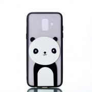 Embossment Pattern Rubberized TPU + PC Hybrid Cell Phone Case for Samsung Galaxy A6 (2018) - Panda