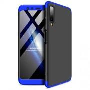 GKK 360 μοιρών Σκληρή Θήκη Ματ με Βελούδινη Υφή Πρόσοψης και Πλάτης για Samsung Galaxy A7 (2018) - Μαύρο / Μπλε