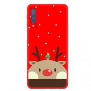 Christmas Pattern Printing Matte TPU Mobile Phone Case for Samsung Galaxy A7 (2018) - Brown Elk