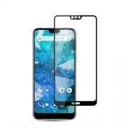 MOCOLO Silk Print Arc Edge Full Coverage Tempered Glass Screen Protector for Nokia 7.1 - Black