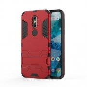 Cool Guard Kickstand Hybrid PC TPU Cell Phone Shell for Nokia 7.1 - Red