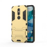 Cool Guard Kickstand Hybrid PC TPU Case for Nokia 7.1 - Gold