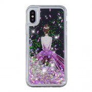 For iPhone XS / X 5.8 inch Pattern Printing Dynamic Glitter Powder Sequins TPU Back Cover - Pretty Girl's Back