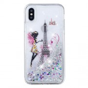For iPhone XS / X 5.8 inch Patterned Dynamic Glitter Powder Sequins TPU Back Phone Case - Eiffel Tower and Butterfly Girl
