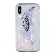 For iPhone XS / X 5.8 inch Patterned Dynamic Glitter Powder Sequins TPU Cover Accessory - Feather and Bird