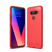 Carbon Fibre Brushed TPU Phone Case Accessory for LG V40 ThinQ - Red