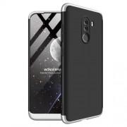 GKK 360 μοιρών Σκληρή Θήκη Ματ με Βελούδινη Υφή Πρόσοψης και Πλάτης για Xiaomi Pocophone F1 - Μαύρο / Ασημί