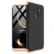 GKK 360 μοιρών Σκληρή Θήκη Ματ με Βελούδινη Υφή Πρόσοψης και Πλάτης για Xiaomi Pocophone F1 - Μαύρο / Χρυσαφί