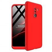 GKK 360 μοιρών Σκληρή Θήκη Ματ με Βελούδινη Υφή Πρόσοψης και Πλάτης για Xiaomi Pocophone F1 - Κόκκινο