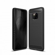 Carbon Fiber Texture TPU Gel Casing for Huawei Mate 20 Pro - Black