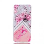 Θήκη Σιλικόνης TPU για Samsung Galaxy J4 Plus - Ροζ Λουλούδια και Ροζ Μάρμαρο
