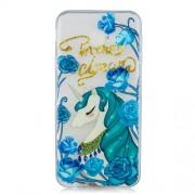Θήκη Σιλικόνης TPU για Samsung Galaxy J4 Plus - Μονόκερος και Μπλε Λουλούδια
