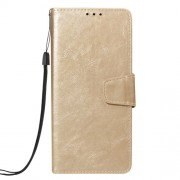 Vintage Oil Buffed Leather Cell Phone Cover with Card Slots for Samsung Galaxy A7 (2018) A750 - Gold