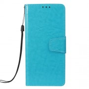 Vintage Oil Buffed Leather Cellphone Shell with 3 Card Slots for Samsung Galaxy A7 (2018) A750 - Blue