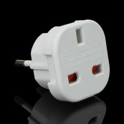 UK to EU AC Travel Power Socket Plug Converter Adapter - White
