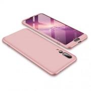 GKK 360 μοιρών Σκληρή Θήκη Ματ με Βελούδινη Υφή Πρόσοψης και Πλάτης για Huawei P20 Pro - Ροζέ Χρυσαφί