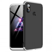 GKK 360 μοιρών Σκληρή Θήκη Ματ με Βελούδινη Υφή Πρόσοψης και Πλάτης για Xiaomi Mi 8 (6.21-inch) - Μαύρο/Ασημί