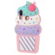 3D Cherry Ice Cream Soft Silicone Cover for Huawei P20 Lite / Nova 3e - Pink