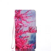 Δερμάτινη Θήκη Πορτοφόλι με Βάση Στήριξης για Samsung Galaxy J8 (2018) - Κόκκινα Ανθισμένα Κλαδιά