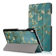 For Lenovo Tab 4 8 Plus (TB-8704F,N) Patterned Leather Tri-fold Stand Tablet Case - White Flowers