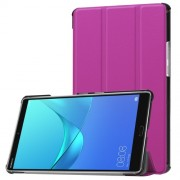 For Huawei MediaPad M5 8 Tri-fold Leather Cover Accessory with Stand - Purple