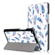 For Huawei Mediapad M3 Lite 8.0 (8 Inch) Patterned Smart Leather Tri-fold Stand Cover - Feathers