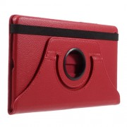 Litchi Grain 360 Degree Swivel Stand Leather Cover Case for Huawei Mediapad M3 Lite 8.0 (8 Inch) - Red