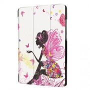 For Huawei MediaPad T3 7.0 Printing Pattern Tri-fold Leather Casing - Flowered Girl with Wings