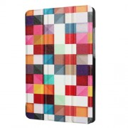 For Huawei MediaPad T3 7.0 Printing Pattern Tri-fold Leather Shell - Colorful Triangle Grid