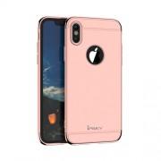 IPAKY 360 μοιρών Σκληρή Θήκη Ματ με Βελούδινη Υφή Πρόσοψης και Πλάτης για iPhone X - Ροζ