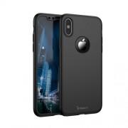 IPAKY 360 μοιρών Σκληρή Θήκη Ματ με Βελούδινη Υφή Πρόσοψης και Πλάτης με Σκληρυμένο Γυαλί για iPhone X - Μαύρο